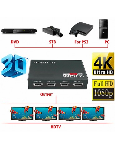 1 in 4 Out Full HD HDMI Splitter Amplifier Repeater 3D 1080p Hub