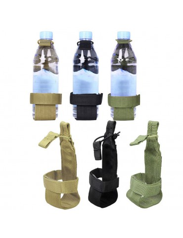 Outdoor Tactical Hiking Camping Molle Water Bottle Holder With Adjustable Vecro Strap Belt Rope